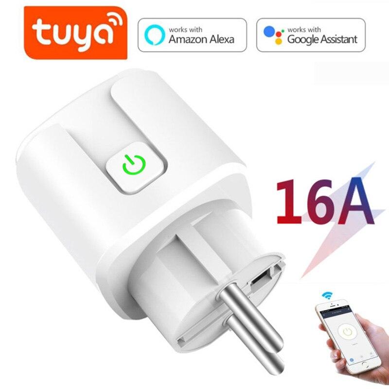 Tuya Wi-Fi ЕС Smart Plug 16A 220V адаптер переменного тока Беспроводной розетка пульт дистанционного управления голосовой Управление Мощность монитор ...
