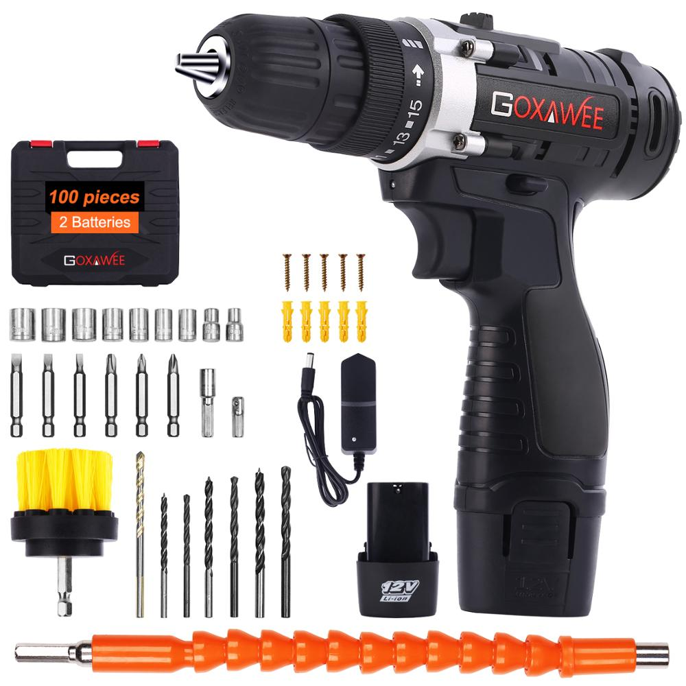 GOXAWEE 12V/21V Electric Screwdriver Cordless Electric Drill Household Rechargeable Lithium-Ion Battery Power Tools 2-Speed