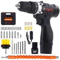 GOXAWEE 12V/21V Electric Screwdriver Cordless Electric Drill Household Rechargeable Lithium Ion Battery Power Tools 2 Speed|Electric Screwdrivers| |  -