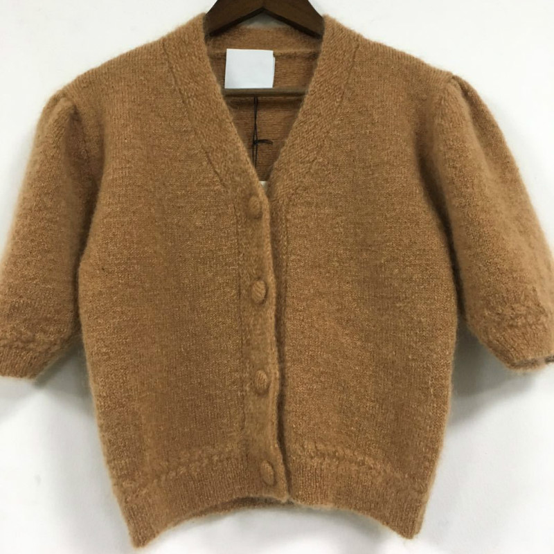 Women Sweater Early Spring New Short-sleeved Knitted Mohair Sweater Cardigan