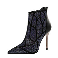 UMMEWALO Ankle Length Flock Boots Women Fashion Pointed Toe Thin Heels Shoes Winter Ankle Boots Rhinestone Design Ladies Shoes