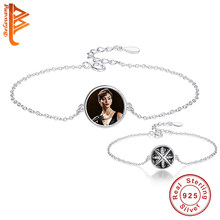 Unique Design Forever Round Black Star Custom Photo Bracelet 925 Sterling Silver Charm Bracelets for Women Ladies Jewelry Gift(China)