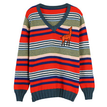 Shuchan Colorful Striped Sweaters Fashion 2019 Women Korea Cute Sweater V-Neck Pullovers Casual Womens Leisure Clothing