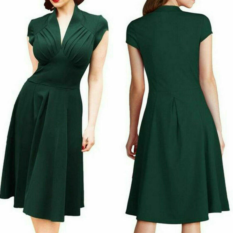 Meihuida <font><b>Vintage</b></font> Style Retro <font><b>1940s</b></font> Shirtwaist Flared Party Tea elegant Women <font><b>Dress</b></font> Summer <font><b>Dress</b></font> Swing Skaters Size 8-18 image