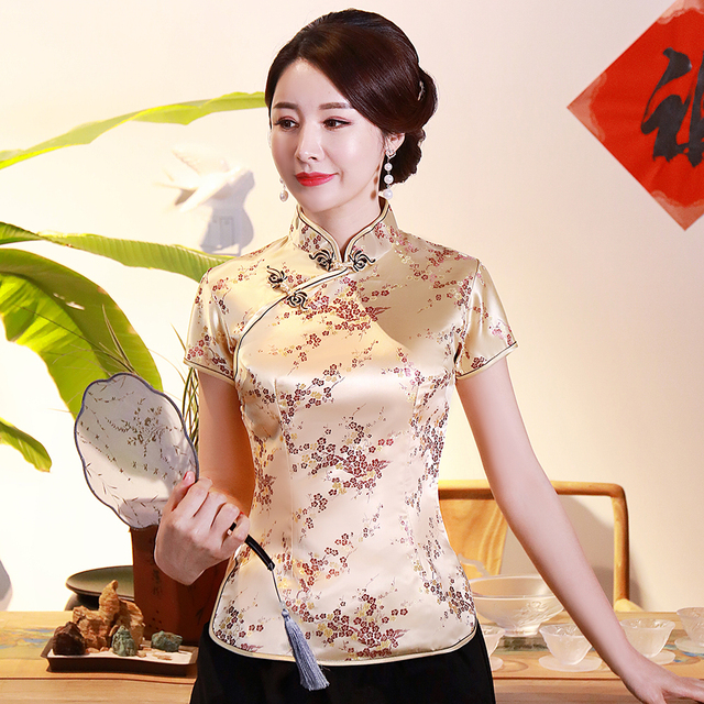 Plus Size 3XL 4XL Women Shirt Vintage Button Classic Tops Short Sleeve Flower Blouse Mandarin Collar Chinese Style Clothing 1