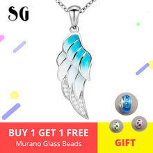 100% 925 silver angel's wing chain pendant necklace with gradient blue enamel diy fashion jewelry making for women Ladies gift ztung gop9 for us fashion ziron flowers pendant send with white and blue material 925 silver chian for women wonderful gift