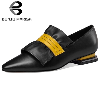 BONJOMARISA Ladies Brand Genuine Leather Dress Pumps Elegant Party mixed-color Pumps Women Low Heel Concise Shoes Woman