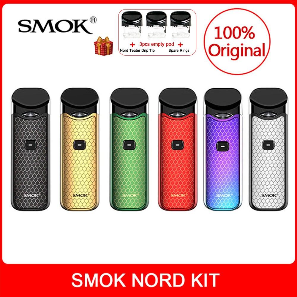 Original smok nord kit com bateria embutida + bobinas pod 3ml para cigarro eletrônico smok nord vape vape kit vs smok novo vape kit