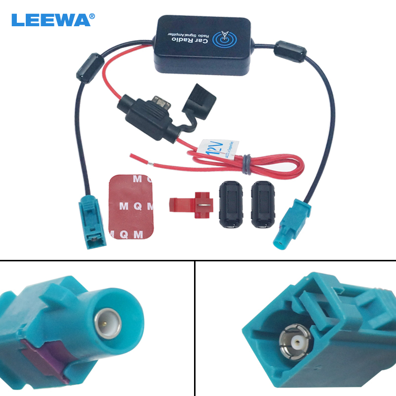 LEEWA 12V 12V Car Radio Aerial Antenna Signal Booster Amplifier For Car With FAKRA II Connector   CA1051