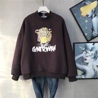 2019 Autumn & Winter New Arrival Leopard Head Sweatshirt Korean Plus Velvet Thick Sweatshirt High Collar Blouse Free Shipping