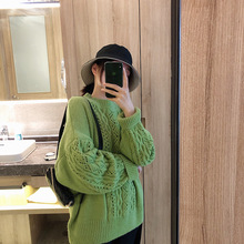 2019 with The New Sweater Women Loose Round Neck Long-sleeved Korean Hedging Exposed Sweaters and Pullovers