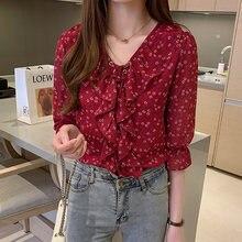 Блузка с цветочным рисунком три четверти шифоновая рубашка оборками