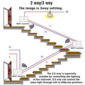 Image 4 - สมาร์ทWiFi TOUCH Wall Light Switch,APPไร้สายสวิทช์ควบคุม,2/3way,ทำงานร่วมกับAlexa Googleครอบครัว,1/2/3/4 GANG
