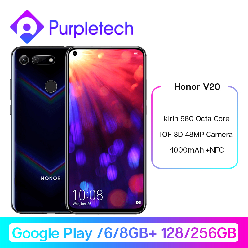Google Play Honor V20 View 20 Smartphone Android 9.0 kirin 980 Octa Core FingerPrint ID 6.4 inch 3*Cameras <font><b>4000</b></font> <font><b>mAh</b></font> Cell Phone image