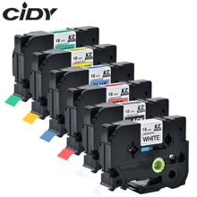 CIDY многоцветный совместимый Ламинированный tze 241 tze241 18 мм черный на белой ленте TZe-241 tz-241 для принтера brother p-touch TZE-141