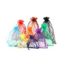 Sacs en Organza avec cordon de serrage, emballage de bijoux, cadeau de mariage, pochette à bijoux, 24 couleurs, 7x9, 9x12, 10x15, 13x18CM