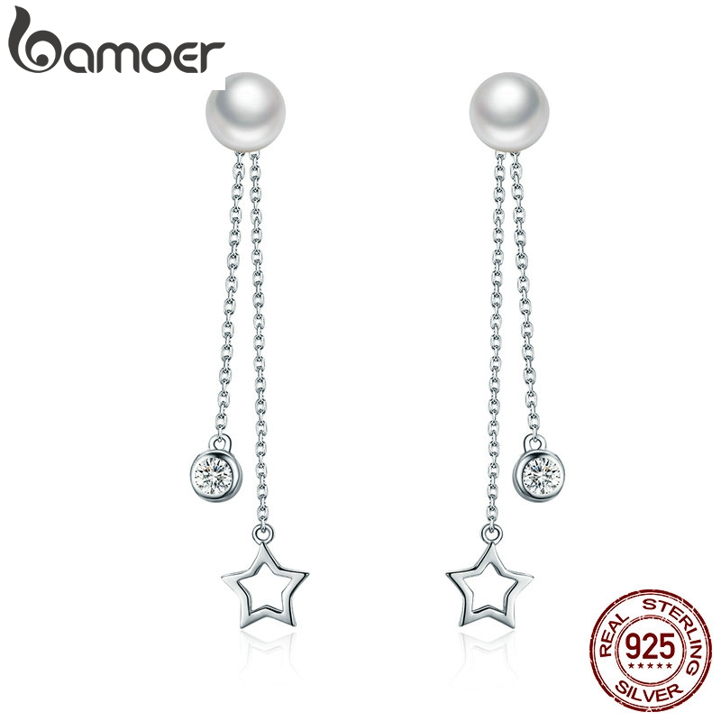 BAMOER 100% 925 Sterling Silver Twinkle Star Imitation Pearl Long Drop Earrings For Women Clear CZ Luxury Jewelry Brincos SCE069