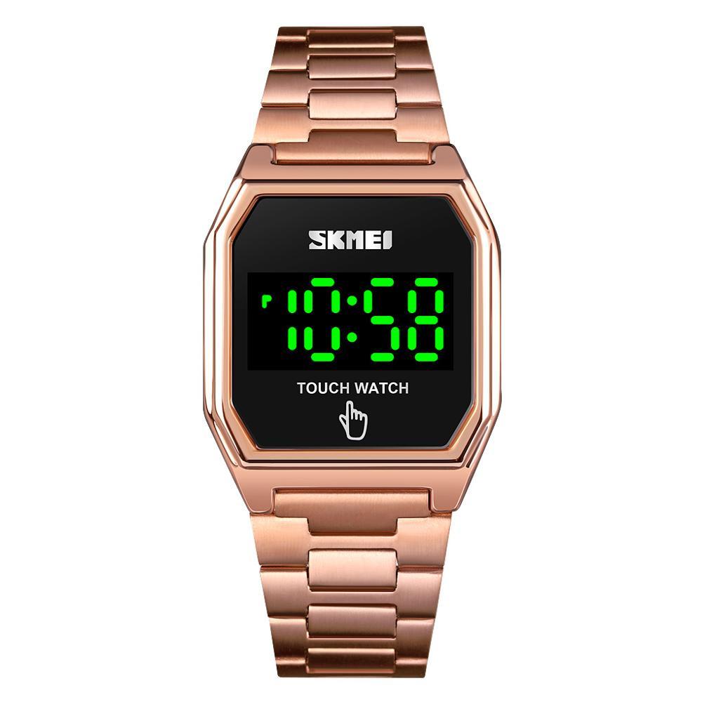 SKMEI Large Digiatl LED Touch Screen Watch Women Men Electronic Wristwatch Stainless Steel Life Waterproof Square Men's Clock