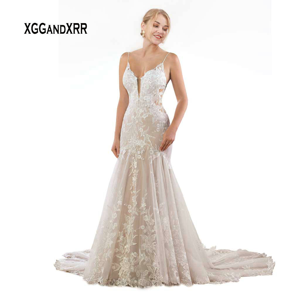 Romantic Lace Mermaid Wedding Dress 2020 Spaghetti Backless FLower Edge Chapel Train White Long Bride Dresses Plus Size