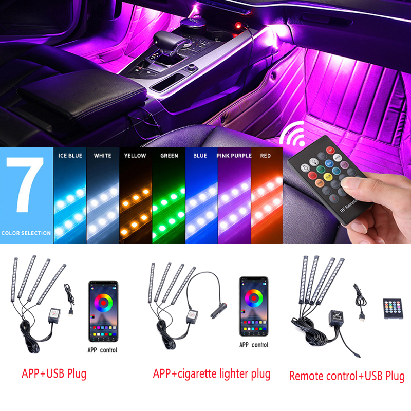 Car Foot Light Ambient LED Lamp With USB Wireless Remote Music For Mercedes Benz AMG W176 W205 W211 W212 W213 A45 C63 G63