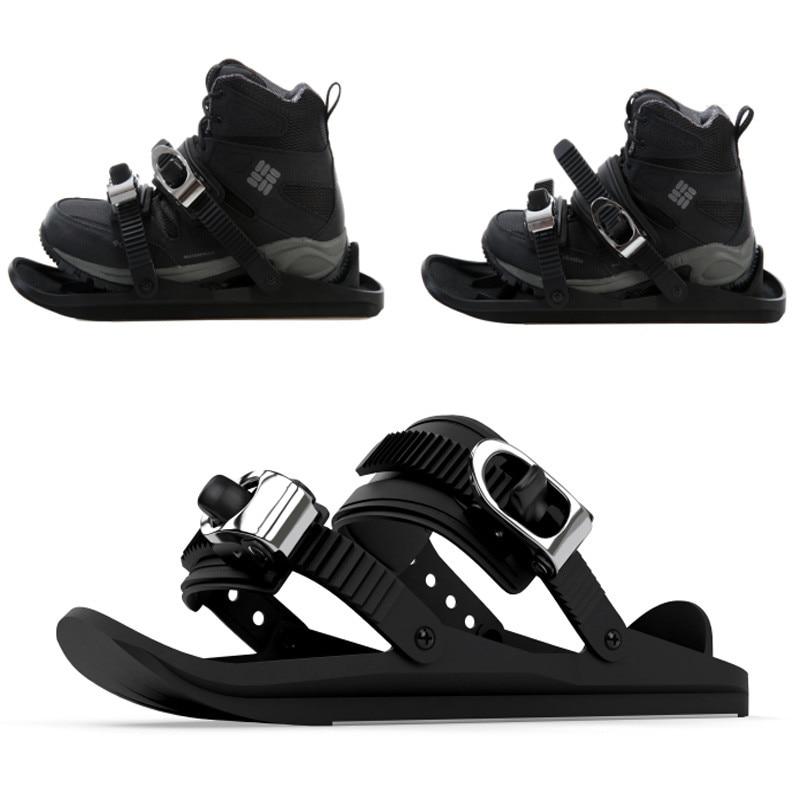 1 Pair Mini Ski Skates For Snow The Short Skiboard Snowblades High Quality Adjustable Bindings Portable Skiing Shoes