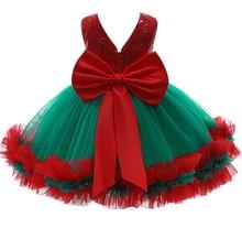 Платье для маленьких девочек платье От 0 до 5 лет с блестками и бантом; Рождественское платье; Платье из сетчатого волокна платье принцессы и...
