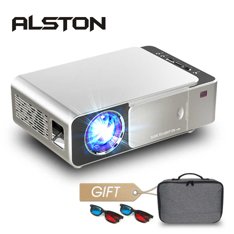 אלסטון T6 מלא hd led מקרן 4k 3500 Lumens HDMI USB 1080p נייד קולנוע Proyector Beamer עם מסתורי מתנה