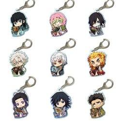 9pcs/Sets Anime Demon Slayer Kimetsu No Yaiba Keychain Kamado Tanjirou Kamado-Nezuko Tomioka Giyuu Acrylic Key Chain For Kids