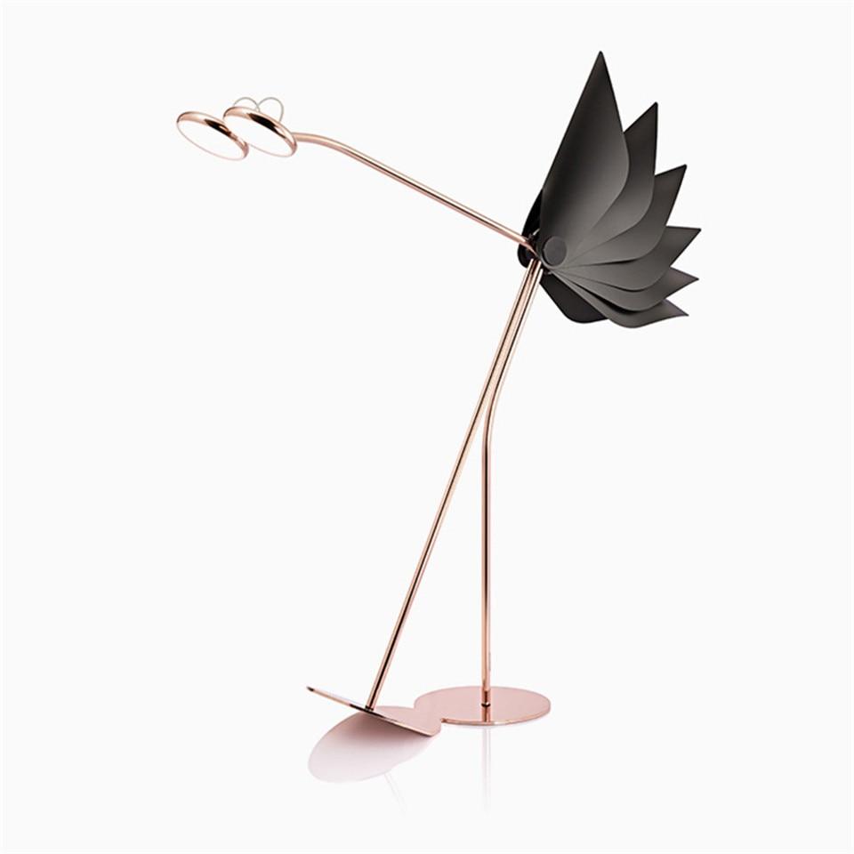 Nordic Denmark Design LED Floor Lamp Postmodern Adjustable Foyer Floor Light Red Ostrich Office Lighing Floor Lamps Tall Lamp