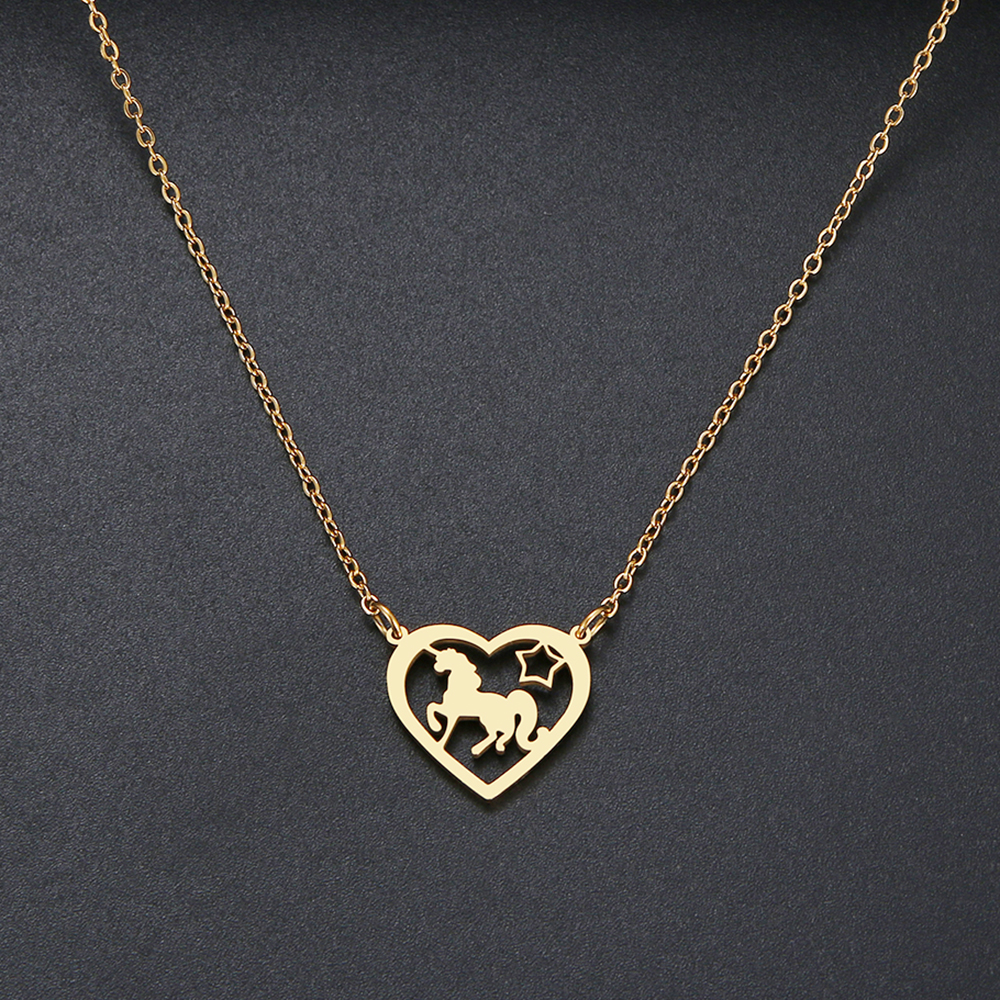 New fashion Love Heart Unicorn Necklace Exquisite Hollow Pendant Necklaces Popular Chain Collares Gifts Stainless Steel Jewelry