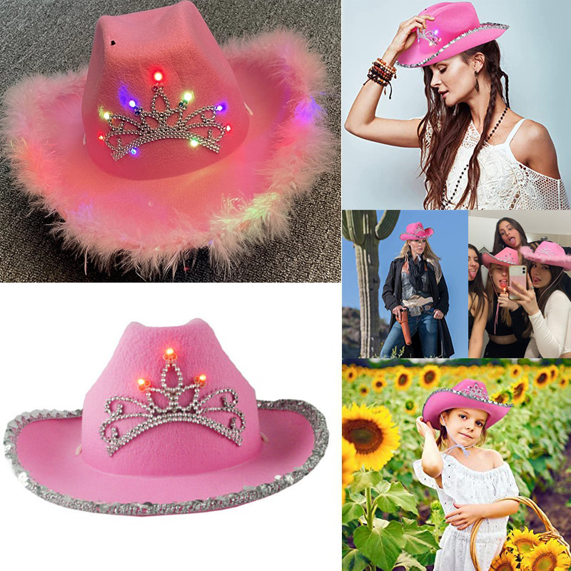 Western Style Women Girl Light-Up Blinking Crown Pink Tiara Cowgirl Hat Cowboy Cap Costume Party Hat with Neck Drawstring Felt