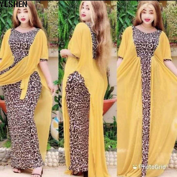 Vestido largo africano de retazos con estampado de leopardo para mujer, traje...