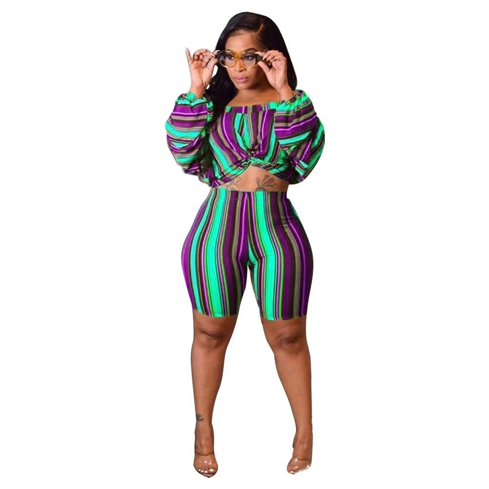 2019 Women Sexy Colorful Striped Two Piece Set Autumn Crop Top Skinny Shorts Plus Size Suit Puff Sleeve Casual Outfits