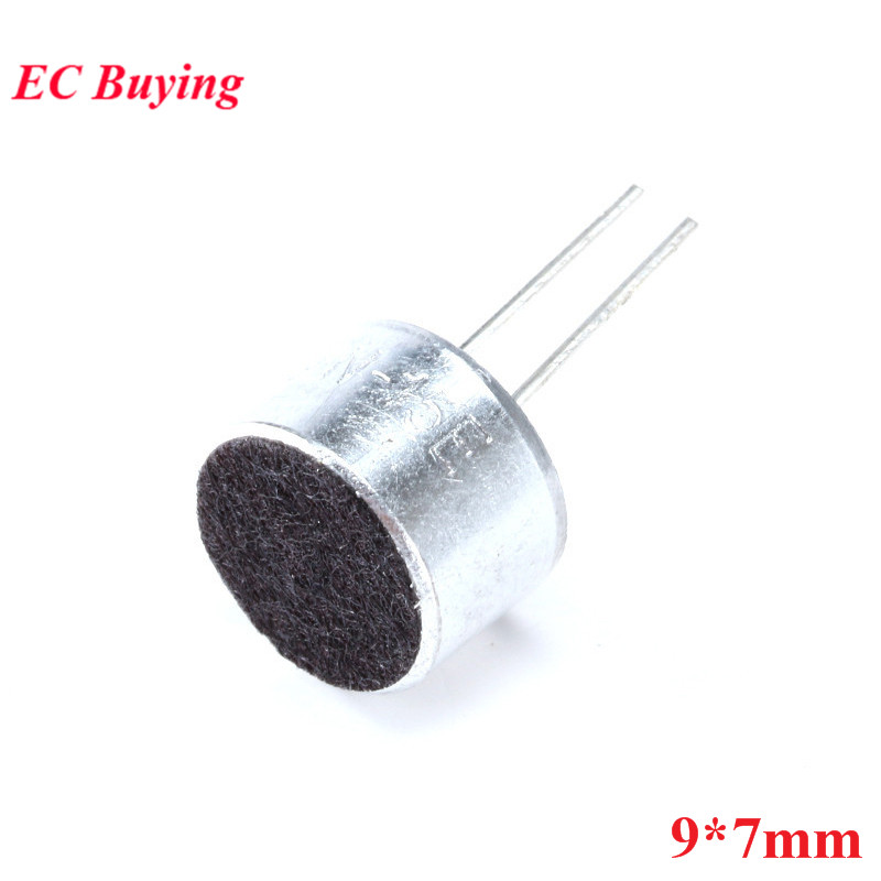 10pcs 9*7mm Capacitive Electret Microphone With Pins MIC Electret Condenser Pick-Up Sensitivity 52D 9x7mm 9mmx7mm 9mm*7mm