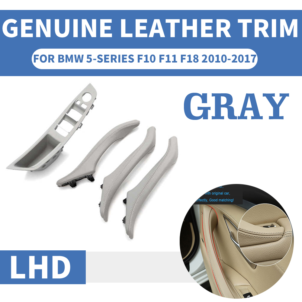 4PCS Genuine Leather Left Hand Drive LHD For BMW 5 series F10 F11 F18 Gray Car Interior Door Handle Inner Panel Pull Trim Cover