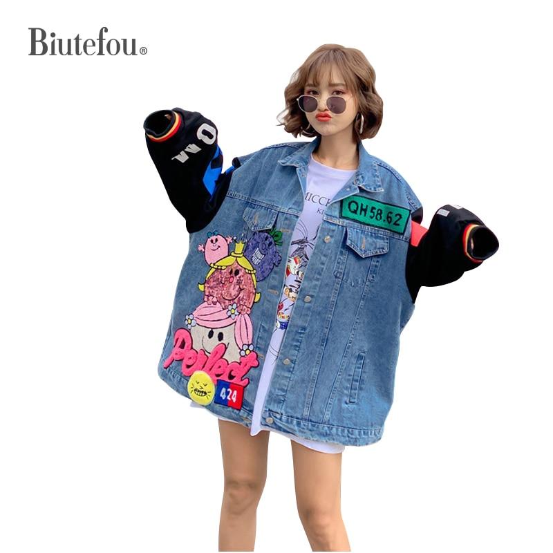 2020 Spring sequins patchwork chic jackets fashion women denim jackets