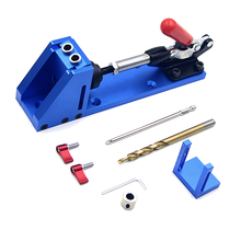Pocket Hole Jig Kit woodworking tools System for Wood Working Joinery Step Drill Bit Pocket Hole Jig Kit Tool woodworking guide carpenter kit system inclined hole drill tools clamp base drill bit kit system pocket hole jig kit