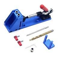 Tasche Loch Jig Kit holzbearbeitung werkzeuge System für Holz Arbeits Tischlerei Schritt Bohrer Tasche Loch Jig Kit Werkzeug-in Bohrkronen aus Werkzeug bei