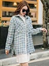 Fashion Korean style womens loose tweed coat 2019 autumn women Shirt plaid B011
