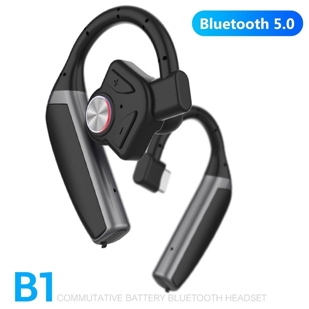 Наушники B1 Bluetooth с шумоподавлением, гарнитура с ушным крючком, беспроводные наушники Bluetooth, 270 мАч, запасной аккумулятор, регулятор громкости