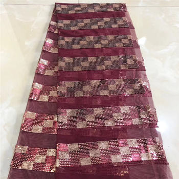 New Sequin Emrbroidered Nigeria Lace For Wedding Dress 2020 High quality African Lace Fabric 5yards SL120