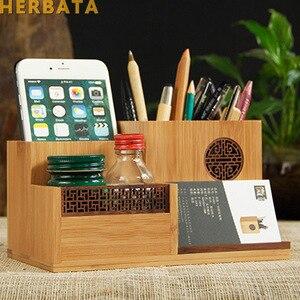 Image 1 - Çok fonksiyonlu ahşap ve bambu kalem kalemlik masaüstü saklama kutusu Retro kozmetik tutucu yaratıcı ofis aksesuarları CL 2524
