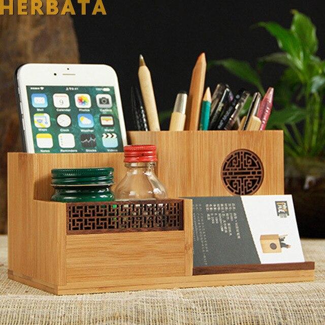 Çok fonksiyonlu ahşap ve bambu kalem kalemlik masaüstü saklama kutusu Retro kozmetik tutucu yaratıcı ofis aksesuarları CL 2524