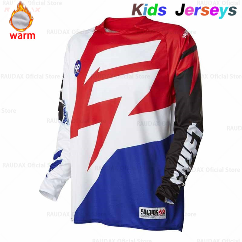 Kids Fleece Riding Tops Cycling Team Moto Jersey Shirt MX MTB Off Road Mountain Bike DH Bicycle DH BMX Moto Cross Cycling Jersey