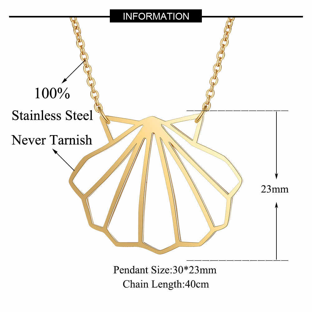 100% Real Stainless Steel Hollow Sea Shell Necklace Amazing Design Special Gift Italy Design Fashion Animal Pendant Necklaces