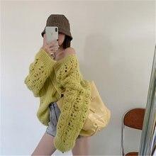 Женский мохеровый свитер с вырезами Осенний милый темпераментный