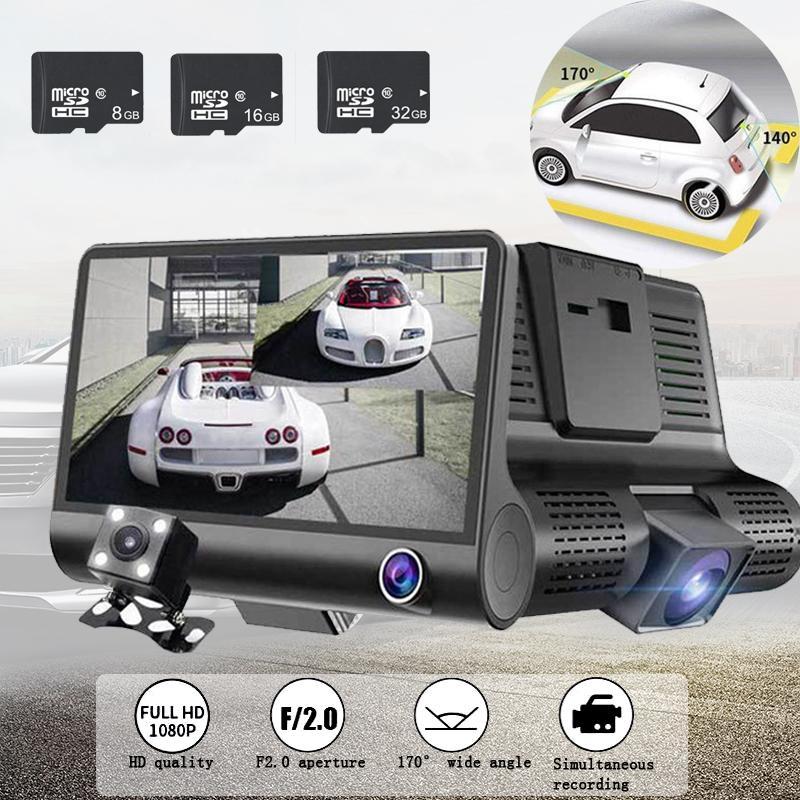 TOSPRA Car DVR 3 Cameras Lens 4.0 Inch Dash Camera Auto Registrator DVRs Dash Cam Dual Lens With Rearview Camera Video Recorder