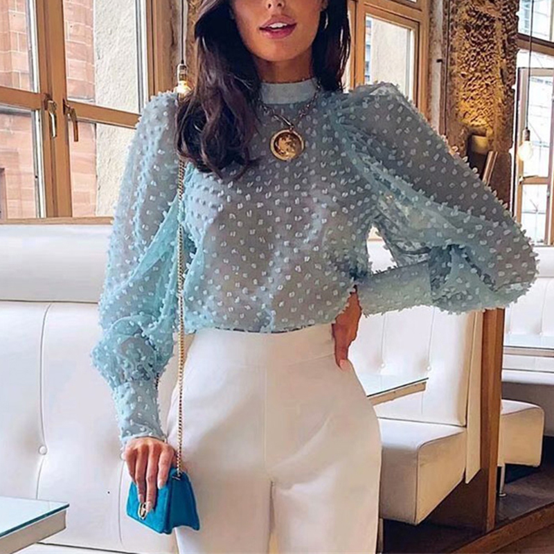 Elegant Floral Embroidery Women Blouse Shirt Puff Sleeve Turtleneck Female Solid Chiffon Blouse Tops Streetwear Ladies Blouses