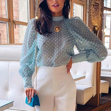 Elegant floral embroidery women blouse shirt Puff sleeve tur