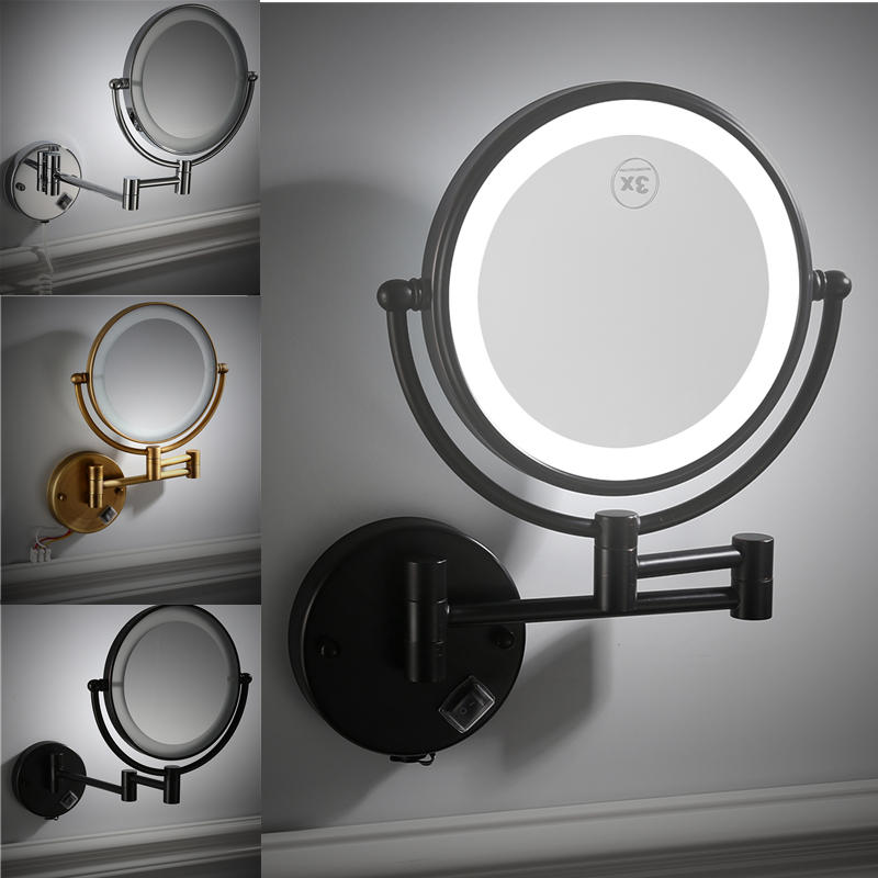 Folding Led Makeup Mirror With Light Bathroom Retractable Black Double Sided Beauty Mirror Magnifying Wall Mounted Smart Mirror Bath Mirrors Aliexpress